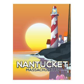 Cartão Postal Poster de viagens do farol de Nantucket