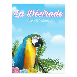 Cartão Postal Poster de viagens do papagaio de Désirade do La