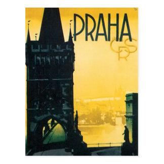 Cartão Postal Poster de viagens fino de Praga do vintage (Praha)