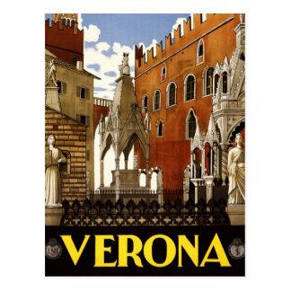 Cartão Postal Poster de viagens italiano do vintage a Verona