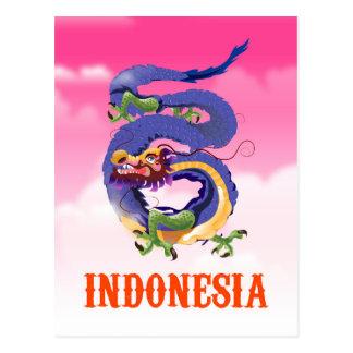Cartão Postal Poster de viagens retro do dragão de Indonésia