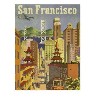 Cartão Postal Poster de viagens retro San Francisco EUA do