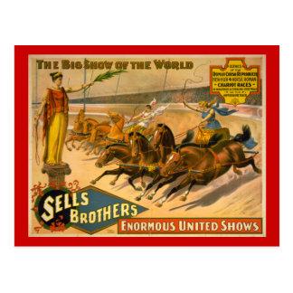 Cartão Postal Poster do circo das raças de Chariot dos irmãos