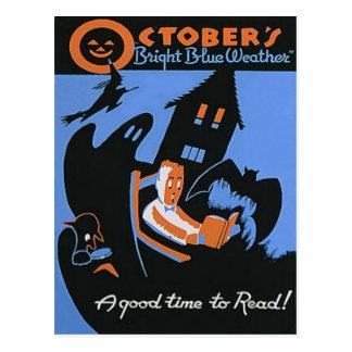 Cartão Postal Poster do Dia das Bruxas da biblioteca da leitura