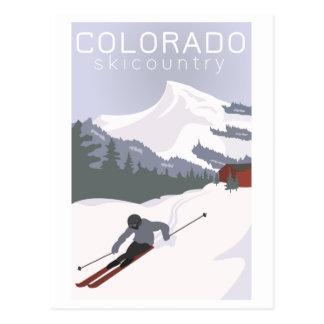 Cartão Postal Poster do esqui do vintage