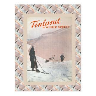 Cartão Postal Poster do esqui do vintage, Finlandia para
