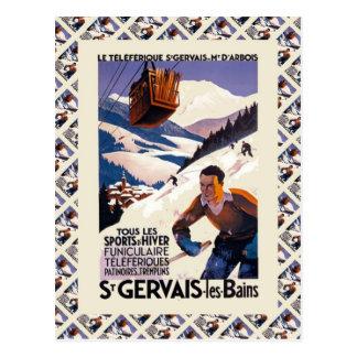 Cartão Postal Poster do esqui do vintage, France, les Bains de