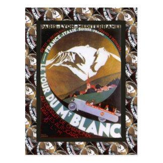 Cartão Postal Poster do esqui do vintage, Le Visita du Mt Blanc