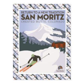 Cartão Postal Poster do esqui do vintage, montículo com crista