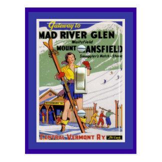 Cartão Postal Poster do esqui do vintage, vale de Mad River