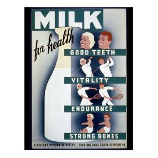 Cartão Postal Poster do leite 1940