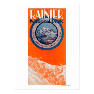 Cartão Postal Poster do Monte Rainier - Sledding
