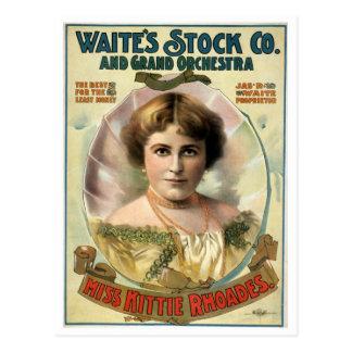 Cartão Postal Poster do teatro do vintage de Kittie Rhoades