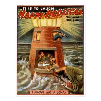 Cartão Postal Poster feliz do farol do hooligan
