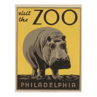 Cartão Postal Poster Philadelphfia do jardim zoológico de WPA do