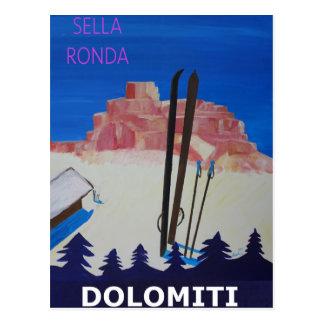 Cartão Postal Poster retro Dolomiti Italia em Sella Ronda