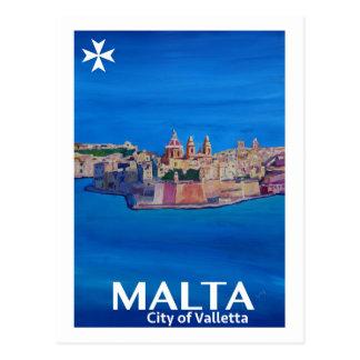 Cartão Postal Poster retro Malta valletta - cidade dos