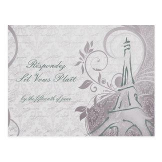 Cartão Postal Poster rústico: Cerceta subtil & RSVP roxo