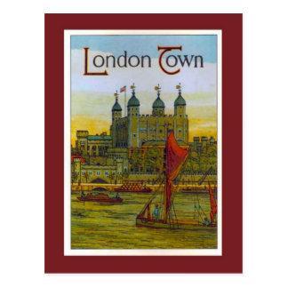 Cartão Postal Poster vintage, cidade de Londres, barca de Tamisa