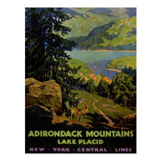 Cartão Postal Poster vintage do Lake Placid das montanhas de