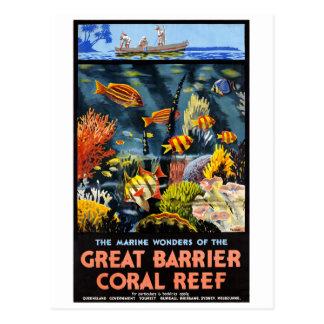 Cartão Postal Poster vintage do recife de corais da barreira de