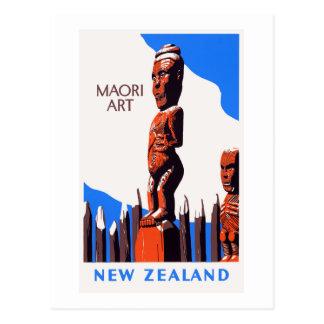 Cartão Postal Poster vintage maori da arte de Nova Zelândia