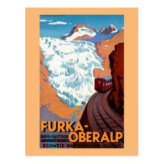 Cartão Postal Poster vintage Railway suíço de Furka Oberalp