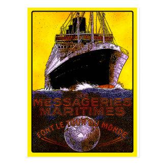 Cartão Postal Posters das viagens vintage: Forro de oceano da