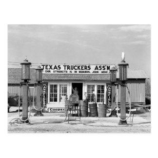 Cartão Postal Posto de gasolina - Edcouch, Texas: 1939