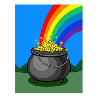 Cartão Postal Pote de ouro & de arco-íris