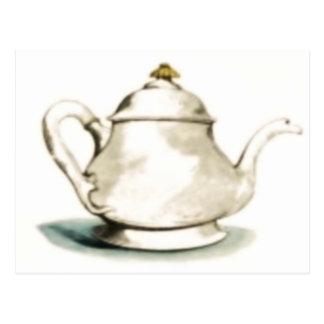 Cartão Postal Pote do chá do vintage
