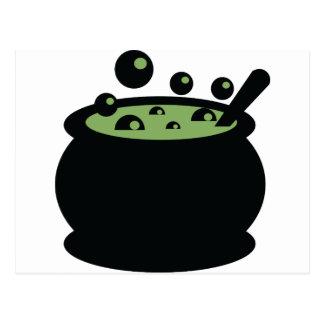 Cartão Postal Pote preto e verde do cozinhar