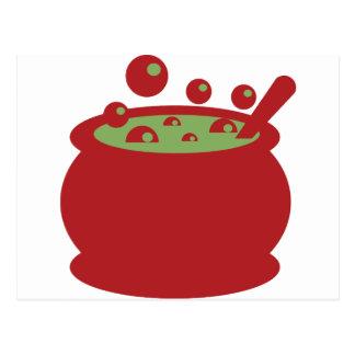 Cartão Postal Pote vermelho e verde do cozinhar