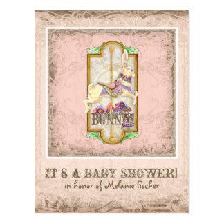 Cartão Postal Pouca arte do vintage do carrossel do circo do