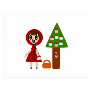 Cartão Postal Pouca capa de equitação vermelha e a árvore do