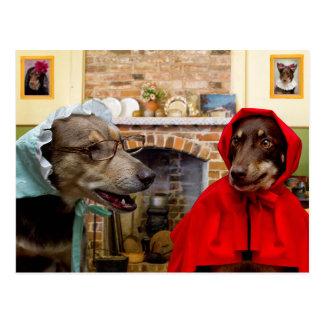 Cartão Postal Pouca capa de equitação vermelha e o lobo mau