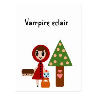Cartão Postal Pouca capa de equitação vermelha encontra o Eclair