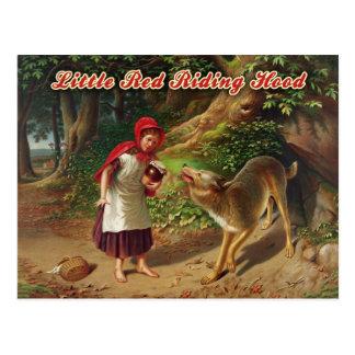 Cartão Postal Pouca capa de equitação vermelha & o lobo mau