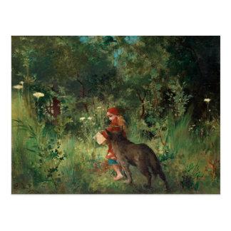 Cartão Postal Pouca capa de equitação vermelha, pintura das