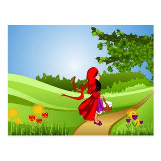 Cartão Postal Pouca capa de equitação vermelha que toma uma