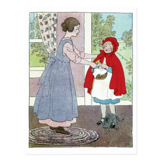 Cartão Postal Pouca capa de equitação vermelha: Traga isto à avó