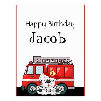 Cartão Postal Pouco carro de bombeiros vermelho, aniversário