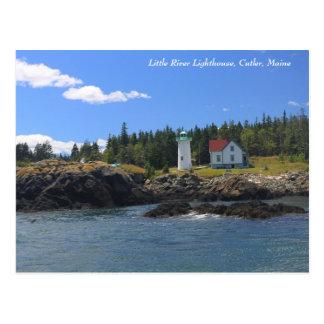 Cartão Postal Pouco farol do rio, Cutler Maine