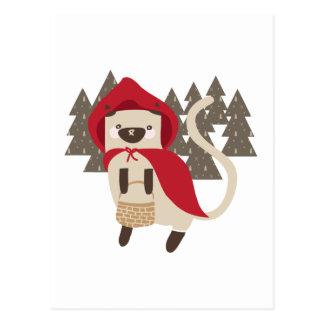 Cartão Postal Pouco gatinho vermelho da equitação