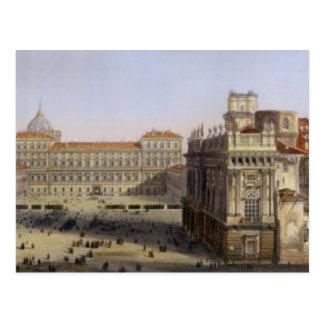 Cartão Postal Praça Castello, Turin, gravado por F. Citterio (c
