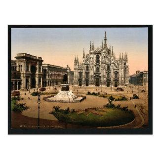 Cartão Postal Praça da catedral, clássico Phot de Milão, Italia