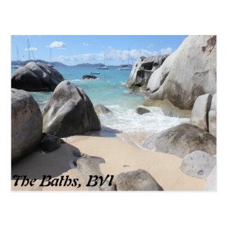 Cartão Postal Praia cénico nos banhos no Virgin Gorda, BVI