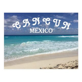 Cartão Postal Praia clara do caribe da água de Cancun México