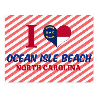 Cartão Postal Praia da ilha do oceano, North Carolina