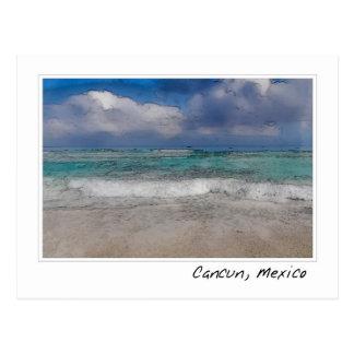 Cartão Postal Praia das caraíbas do oceano   de Cancun México